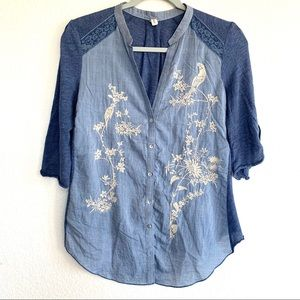 Tiny Anthropologie Chambray Embroidered Button Top